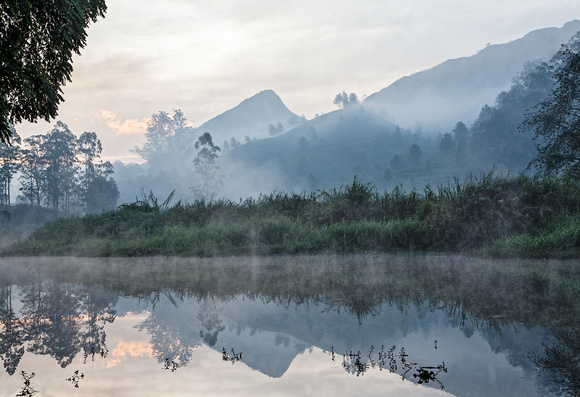 Foggy lake at dawn, Kerala
